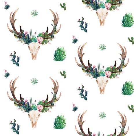 "4"" CACTUS BOHO SKULL fabric by shopcabin on Spoonflower - custom fabric"