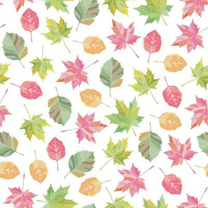 Fall leaves in watercolor style