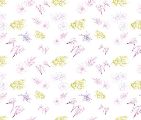 Frogs and Flowers fabric by madrona_tree on Spoonflower - custom fabric