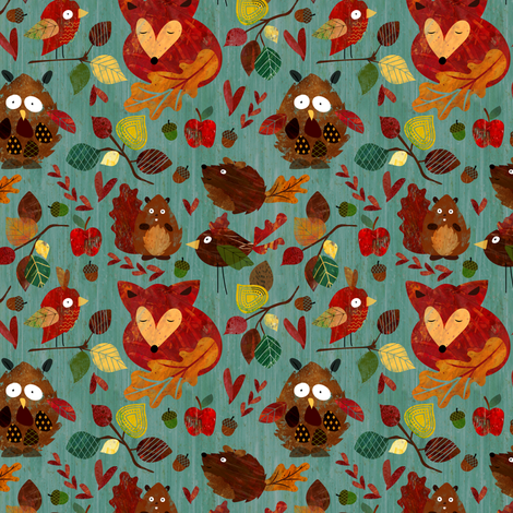 Autumn Leaves (mini size) fabric by sarah_treu on Spoonflower - custom fabric