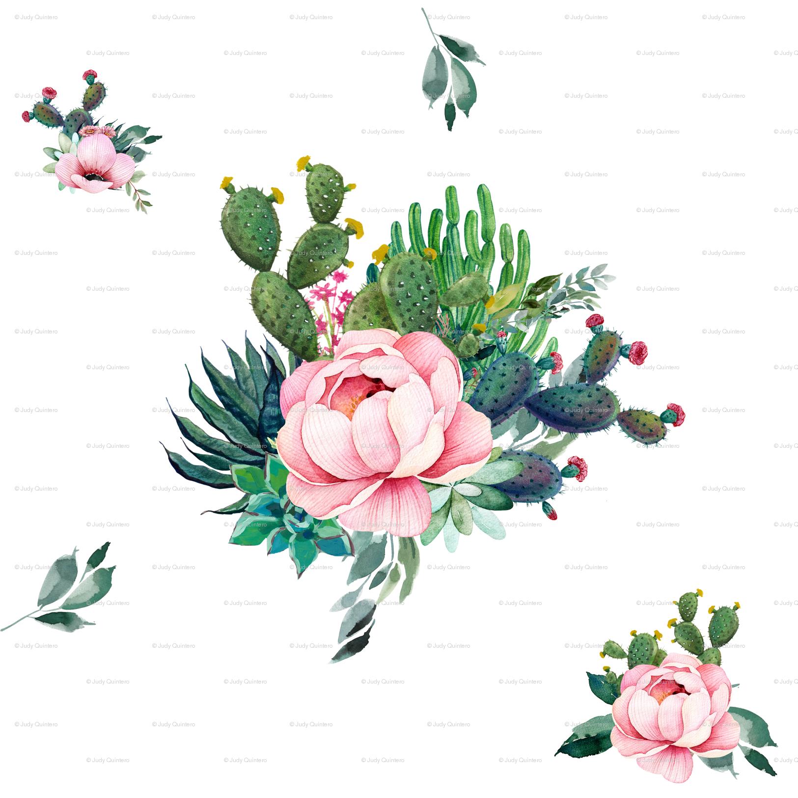 Cactus boho. Skull florals wallpaper
