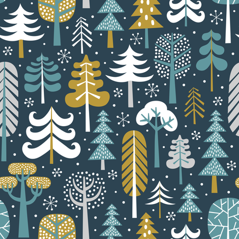 winter woods - dark blue fabric by mirabelleprint on Spoonflower - custom fabric