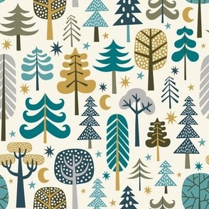 winter woods with stars - cream