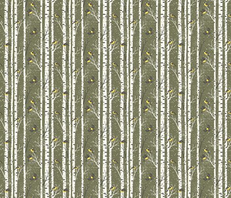 snowy morning - olive fabric by mirabelleprint on Spoonflower - custom fabric