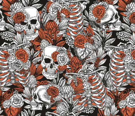 Vintage anatomy halloween fabric by adehoidar on Spoonflower - custom fabric