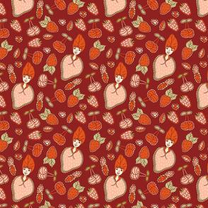 Strawberry girls with cherries and raspberries