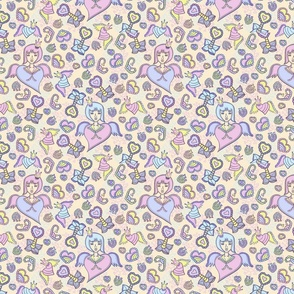 Cute anime girl heart seamless pattern