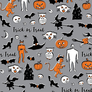 Retro Trick or Treat - Grey and Orange