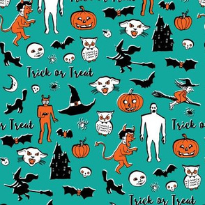 Retro Trick or Treat - Teal