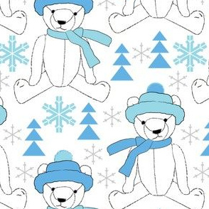 white winter teddy bears