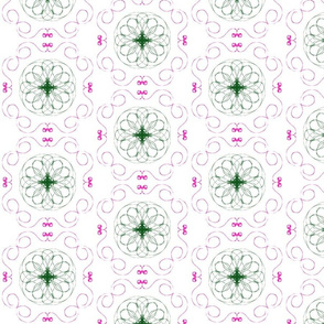 Green Spirographs with Pink Flourishes
