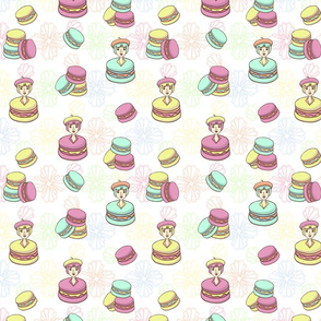 French cute macaroon seamless pattern
