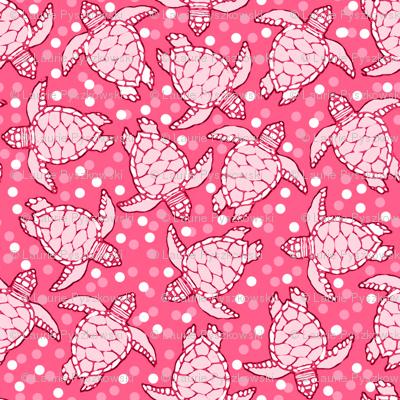 Pinky Baby Sea Turtles with Polka Dotted Background