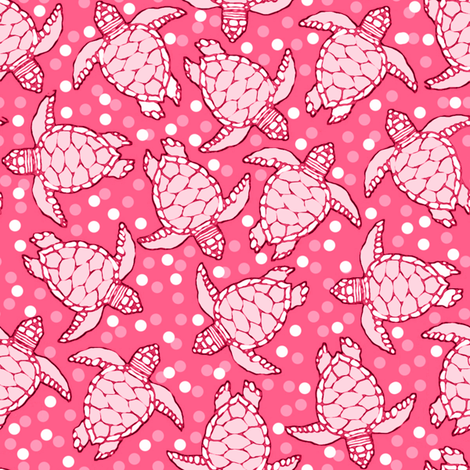 Pinky Baby Sea Turtles with Polka Dotted Background fabric by lauriekentdesigns on Spoonflower - custom fabric