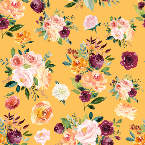 """8"""" Autumn Watercolor Floral on Mustard fabric by greenmountainfabric on Spoonflower - custom fabric"""
