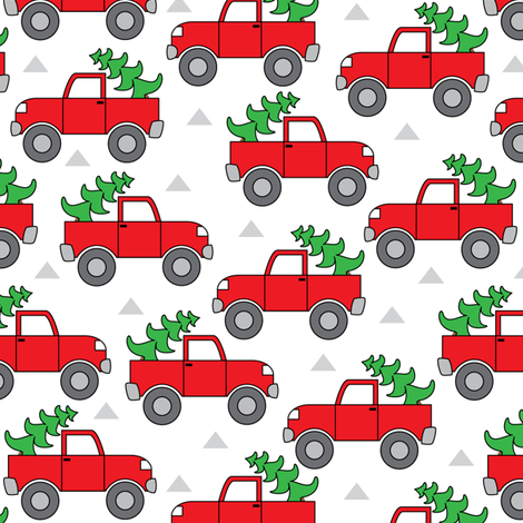 red trucks and christmas trees fabric by lilcubby on Spoonflower - custom fabric