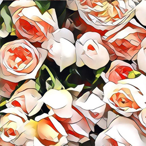 peach rose cluster