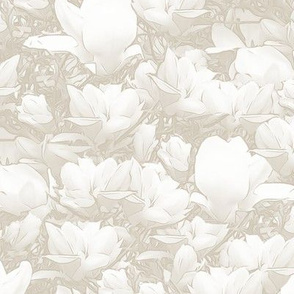 Magnolias Off White Upholstery Fabric