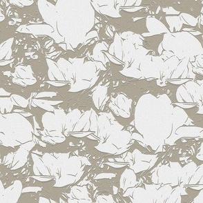 White Magnolias Dark Taupe Upholstery Fabric
