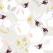 Honeycomb bees in grey and pink