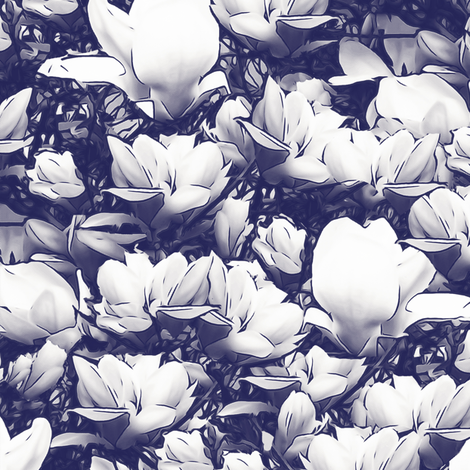 White Magnolias On Dark Blue Upholstery Fabric Fabric Llukks