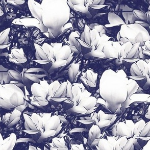 White Magnolias on Dark Blue Upholstery Fabric