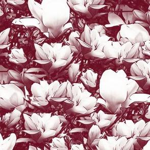 Magnolias Reddish Burgundy Upholstery Fabric
