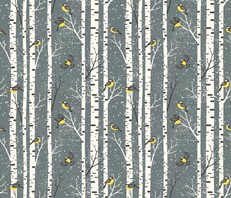 snowy morning - stone gray fabric by mirabelleprint on Spoonflower - custom fabric