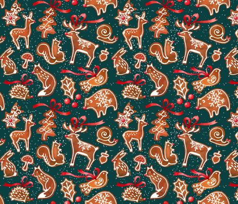 woodland gingerbread - dark green fabric by mirabelleprint on Spoonflower - custom fabric