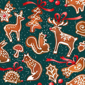 woodland gingerbread - dark green
