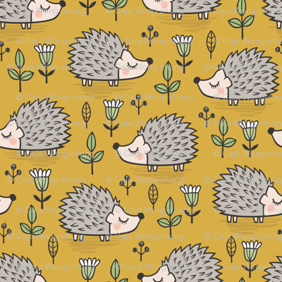 Hedgehog with Leaves and Flowers on Mustard Yellow