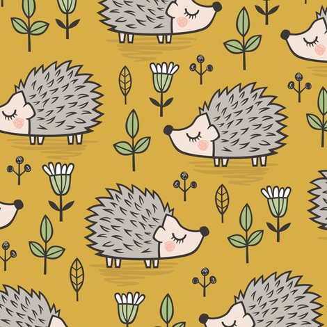 Hedgehog with Leaves and Flowers on Mustard Yellow fabric by caja_design on Spoonflower - custom fabric