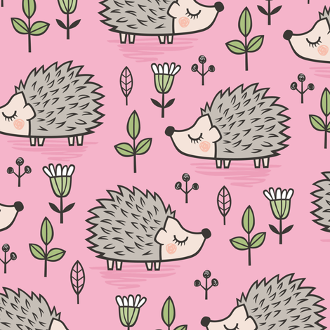 Hedgehog with Leaves and Flowers on Pink fabric by caja_design on Spoonflower - custom fabric