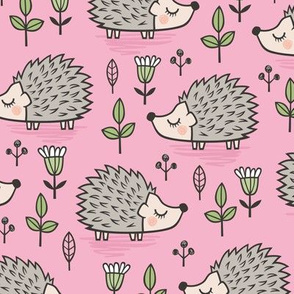 Hedgehog with Leaves and Flowers on Pink