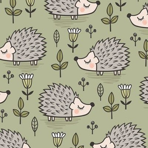 Hedgehog with Leaves and Flowers on Light Olive Green