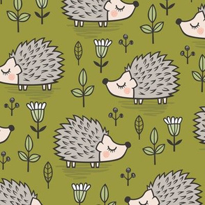 Hedgehog with Leaves and Flowers on Green Olive