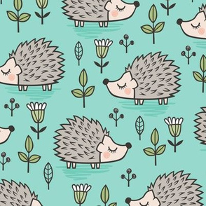 Hedgehog with Leaves and Flowers on  Mint Green