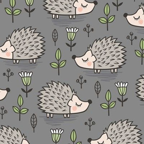 Hedgehog with Leaves and Flowers on Dark Grey
