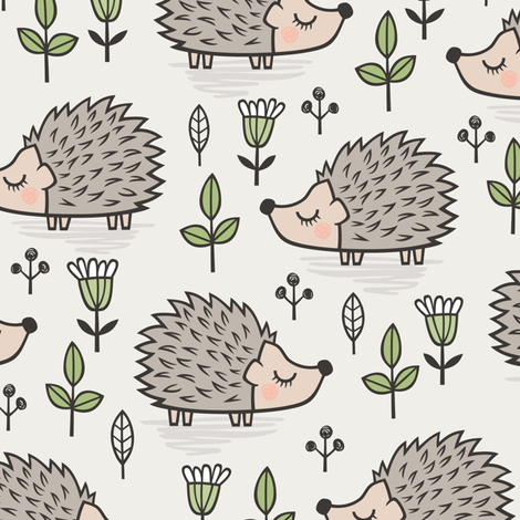 Hedgehog with Leaves and Flowers  fabric by caja_design on Spoonflower - custom fabric