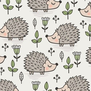 Hedgehog with Leaves and Flowers