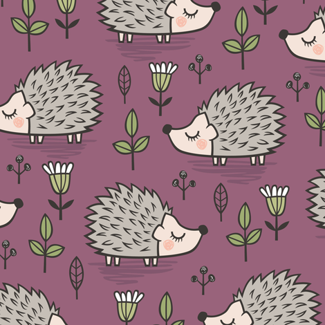 Hedgehog with Leaves and Flowers on Mauve fabric by caja_design on Spoonflower - custom fabric