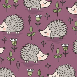 Hedgehog with Leaves and Flowers on Mauve