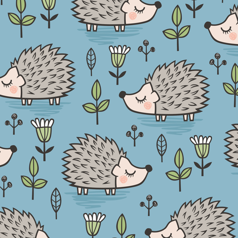 Hedgehog with Leaves and Flowers on Blue fabric by caja_design on Spoonflower - custom fabric