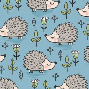 Hedgehog with Leaves and Flowers on Blue