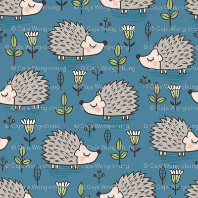 Hedgehog with Leaves and Flowers on Dark Blue Navy