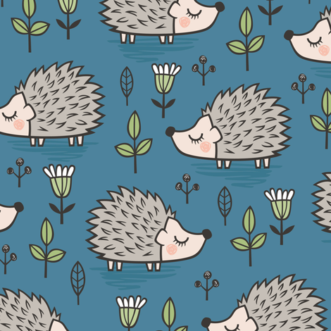 Hedgehog with Leaves and Flowers on Dark Blue Navy fabric by caja_design on Spoonflower - custom fabric