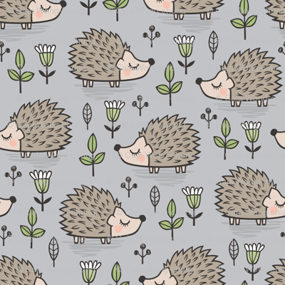 Hedgehog with Leaves and Flowers on Light Grey