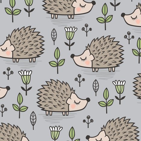 Hedgehog with Leaves and Flowers on Light Grey fabric by caja_design on Spoonflower - custom fabric