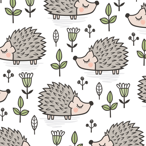Hedgehog with Leaves and Flowers on White fabric by caja_design on Spoonflower - custom fabric