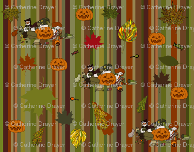 Kids on Halloween stripe